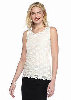 Tahari ASL Lace Sleeveless Blouse