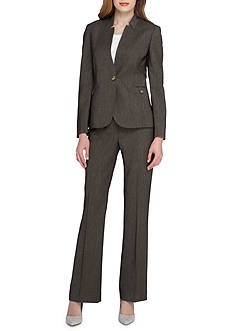 Tahari Solid Single Button Pant Suit