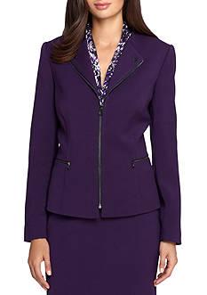 Tahari ASL Solid Ponte Zip Front Jacket