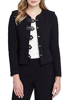 Tahari Solid Jacket With Button Front Detail