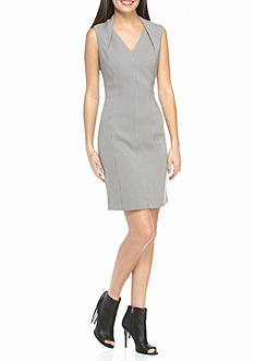 Tahari Houndstooth Sheath Dress