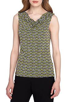 TAHARI™ Print Drape Neck Blouse