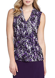 Tahari ASL Print Sleeveless Blouse