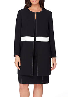 Tahari ASL Plus Size Ponte Dress Suit With Contrast Waistband
