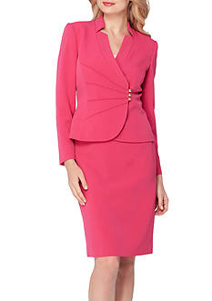 Tahari ASL Shawl Collar Asymmetrical Skirt Suit