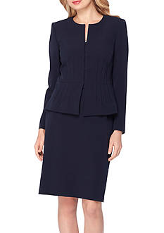 Tahari ASL Jewel Neck Pintucked Peplum Skirt Suit