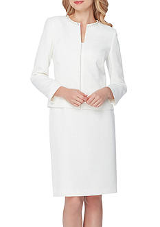 Tahari ASL Beaded Jewel Neck Skirt Suit