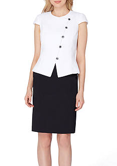 Tahari ASL Jewel Neck Asymmetrical Skirt Suit