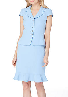 Tahari ASL Portrait Neck Ruffle Skirt Suit