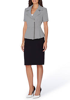 Tahari ASL Portrait Neck Zip Peplum Skirt Suit