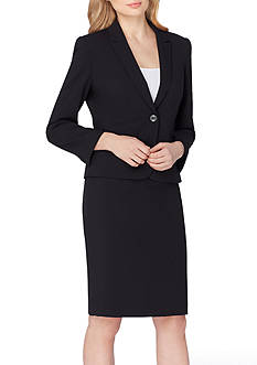 Tahari ASL Notch Collar Single-Button Skirt Suit