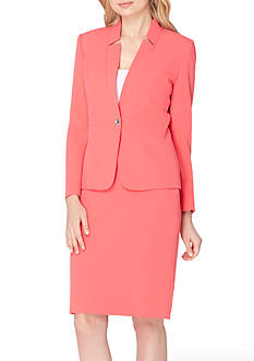 Tahari ASL Star Neck Single-Button Skirt Suit