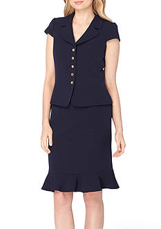 Tahari ASL Petite Portrait Neck Short Sleeve Ruffle Skirt Suit