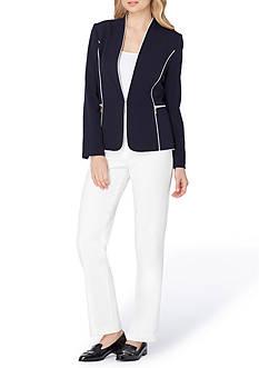 Tahari ASL Petite Collarless Zip Besom Pocket Pant Suit