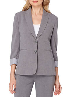 Tahari ASL Petite Shawl Collar Jacket With Striped Lining And Cuffs
