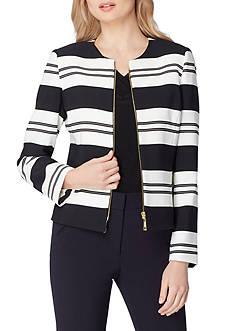 Tahari ASL Petite Zip Front Striped Crepe Jacket