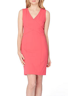 Tahari ASL Petite V-Neck Seamed Sheath Dress