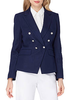 Tahari ASL Peak Lapel Double Breasted Novelty Linen Jacket