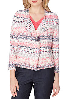 Tahari ASL Novelty Jacquard Flyaway Jacket with Fringe Trim