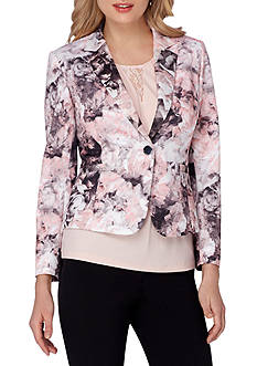 Tahari ASL Printed Single-Button Jacket