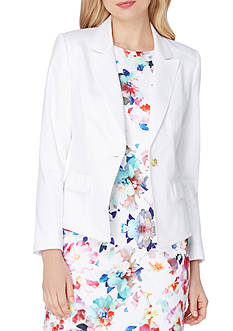Tahari ASL Peak Lapel Single-Button Poplin Jacket