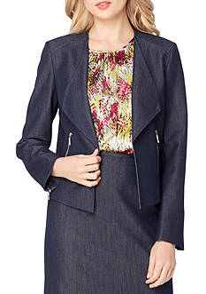 Tahari ASL Wide Lapel Denim Jacket