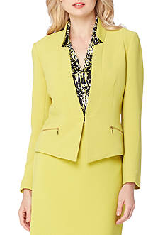 Tahari ASL Star-neck Crinkle Jacket