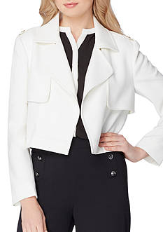 Tahari ASL Cropped Trench Jacket