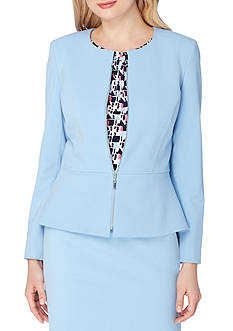 Tahari ASL Collarless Zip Front Peplum Jacket