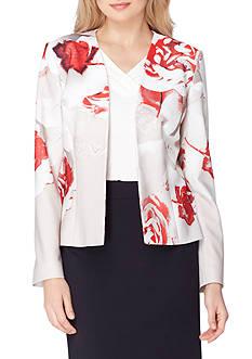 Tahari ASL Floral Print Pique Jacket