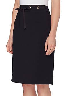 Tahari Straight Grommet Detail Skirt
