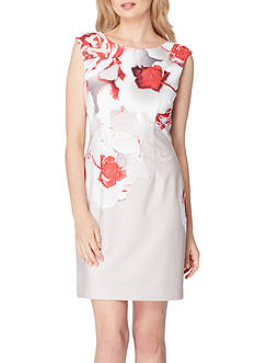 Tahari ASL Floral Print V Back Dress