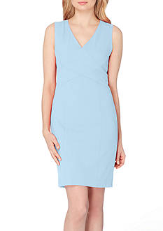 Tahari ASL V-Neck Seamed Sheath Dress