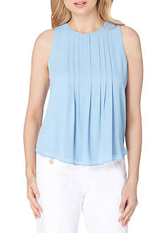 Tahari ASL Pleated Front Sleeveless Blouse