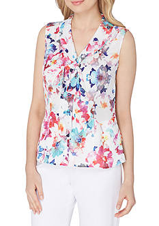 Tahari ASL Georgette Floral Printed Low Bow Blouse
