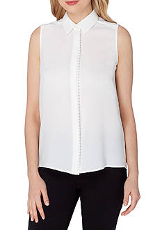 Tahari ASL Georgette Scallop Trim Sleeveless Blouse