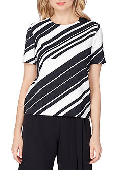 Tahari ASL Diagonal Striped Short Sleeve Scuba Top