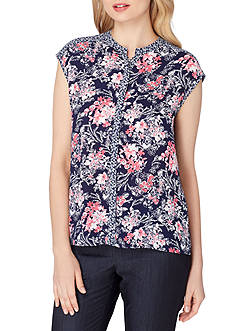 Tahari ASL Georgette Printed Button Front Blouse
