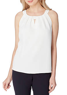 Tahari ASL Key Hole Pleated Cami