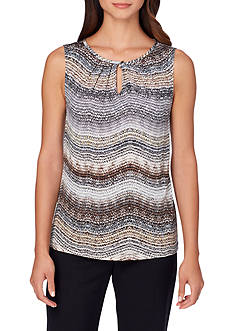 Tahari ASL Printed Sleeveless Blouse