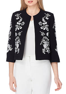 Tahari ASL Embroidered Open Front Jacket