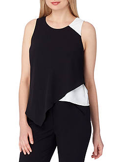 Tahari ASL Sleeveless Ruffled Hem Blouse