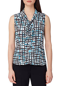 Tahari ASL Sleeveless Printed Bow Neck Blouse