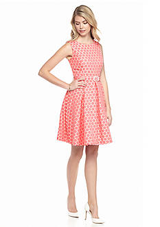 Nine West Dot Jacquard Flare Dress