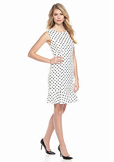 Nine West Print Polka Dot Flounce Dress