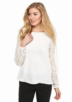 Nine West Lace and Crepe Long Sleeve Top