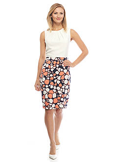 Nine West Solid and Print Sleeveless Dress