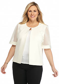Nine West Plus Size Short Mesh Sleeve Jacket
