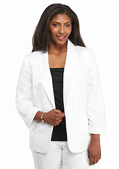 Nine West Plus Size Single Button Linen Jacket