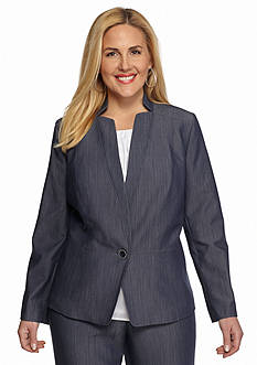 Nine West Plus Size Jean Single Button Jacket